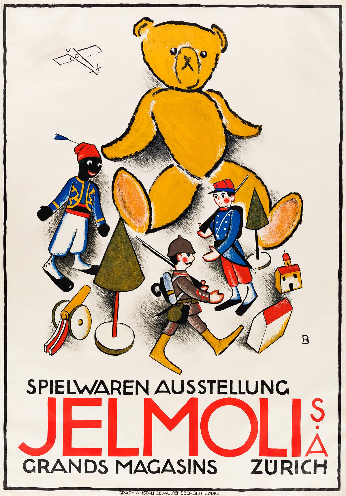 OTTO BAUMBERGER (1889-1961). JELMOLI / SPIELWAREN AUSSTELLUNG. 1915. 50x35 inches, 127x91 cm. J.E. Wolfensberger, Zurich.