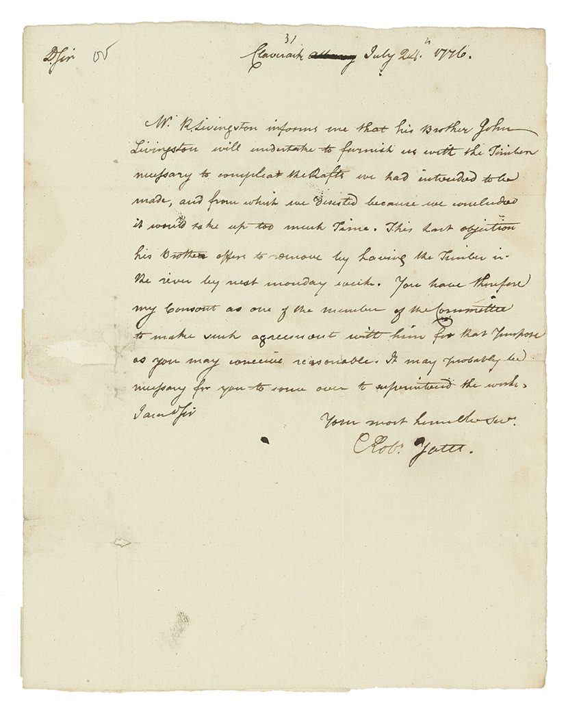 (AMERICAN REVOLUTION.) Yates, Robert. Letter on the construction of fire rafts to obstruct the British on the Hudson River.