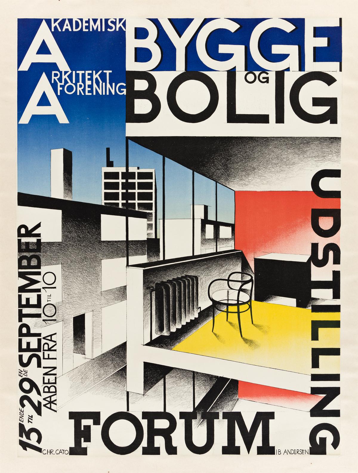 IB ANDERSEN (1907-1969).  BYGGE OG BOLIG. 1929. 33x24½ inches, 83¾x62¼ cm. Chr. Cato, [Copenhagen.]