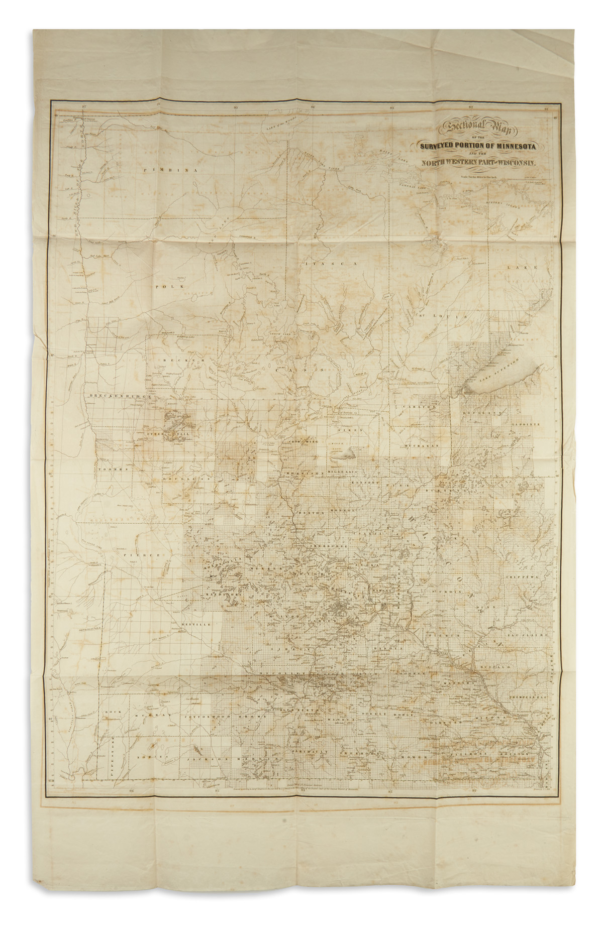 SEWALL-JOSEPH-S;-and-HILL-ALFRED-J-Sectional-Map-of-the-Surv