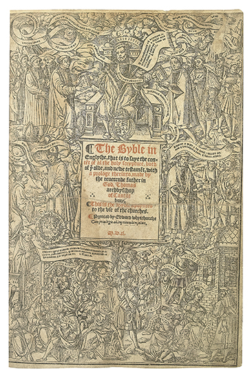 BIBLES, etc.  1540 [i. e, 1541].  The Byble in Englyshe. Fifth Great Bible (with general title and incomplete prelims from the Third).