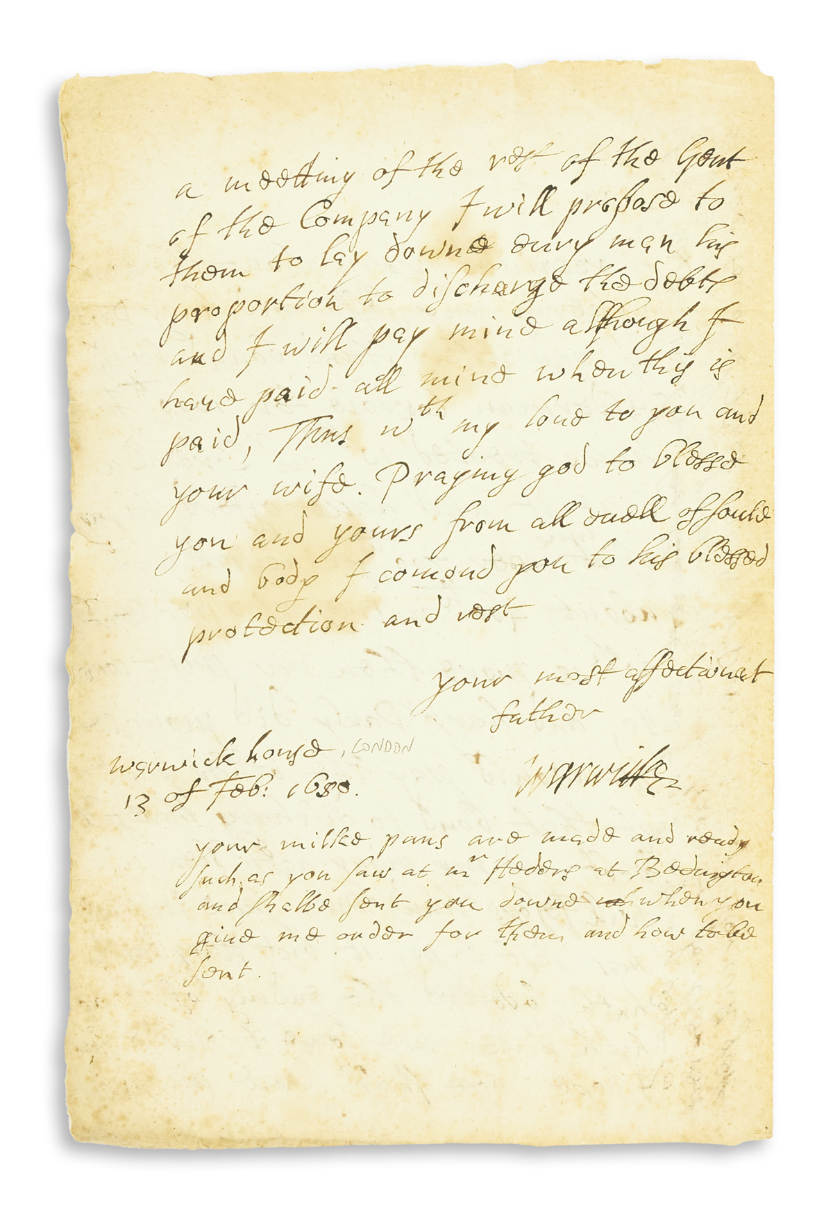 RICH-ROBERT;-2ND-EARL-OF-WARWICK-Autograph-Letter-Signed-War