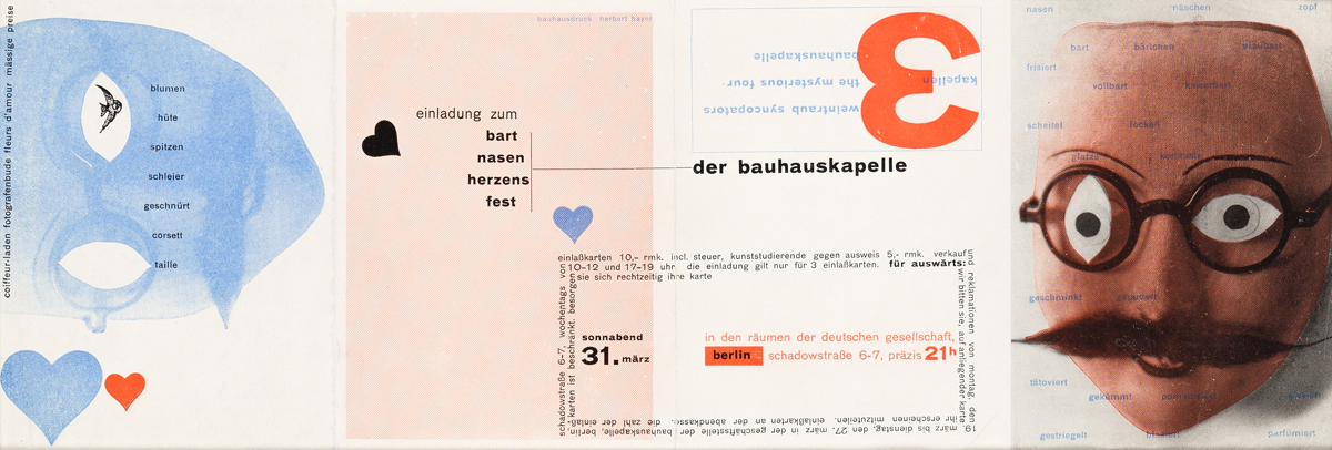 HERBERT BAYER (1900-1985).  EINLADUNG ZUM BART NASEN HERZENS FEST, DER BAUHAUSKAPELLE. Invitation. 1928. 6x16¼ inches, 15¼x41¼ cm, unfo