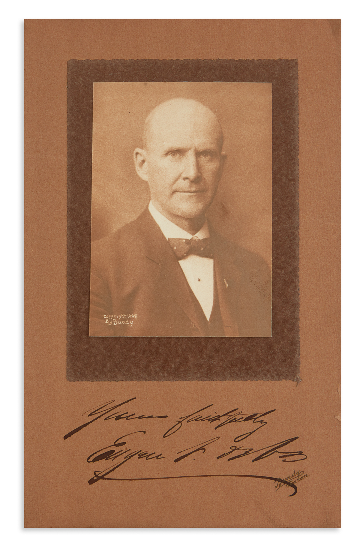 FOUNDER OF THE SOCIALIST PARTY OF AMERICA (LABOR.) EUGENE V. DEBS. Photograph Signed and Inscribed, Yours fa...
