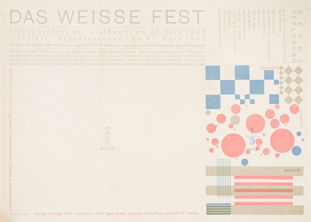HERBERT BAYER (1900-1985).  DAS WEISSE FEST. Invitation. 1926. 8x11 inches, 20¼x28 cm. Bauhausdruck.