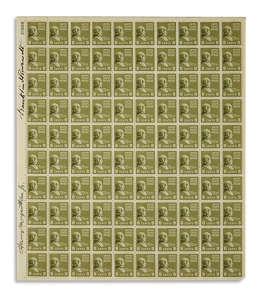 ROOSEVELT-FRANKLIN-D-Sheet-of-stamps-Signed-vertically-in-ma