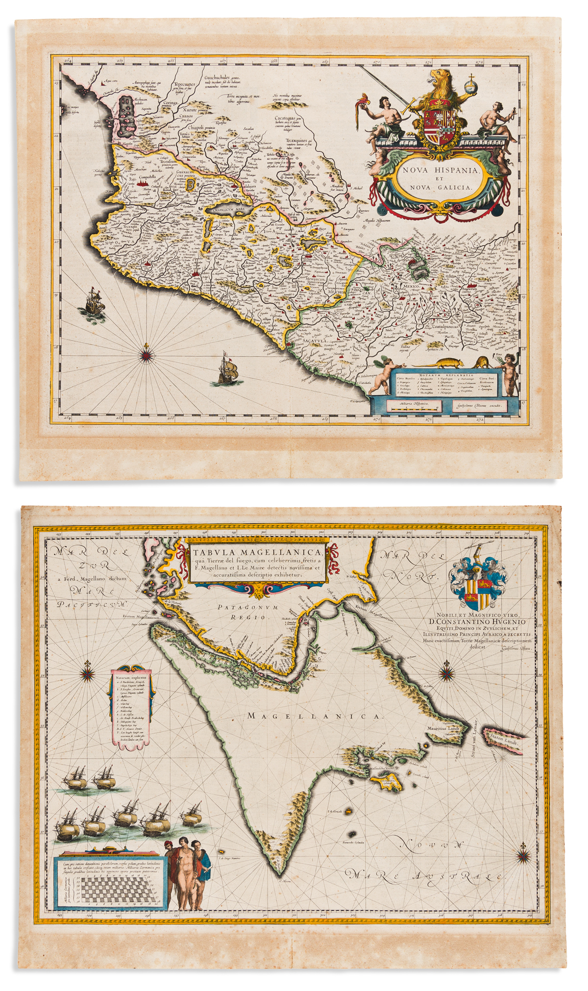 BLAEU, WILLEM. Two hand-colored double-page engraved maps.