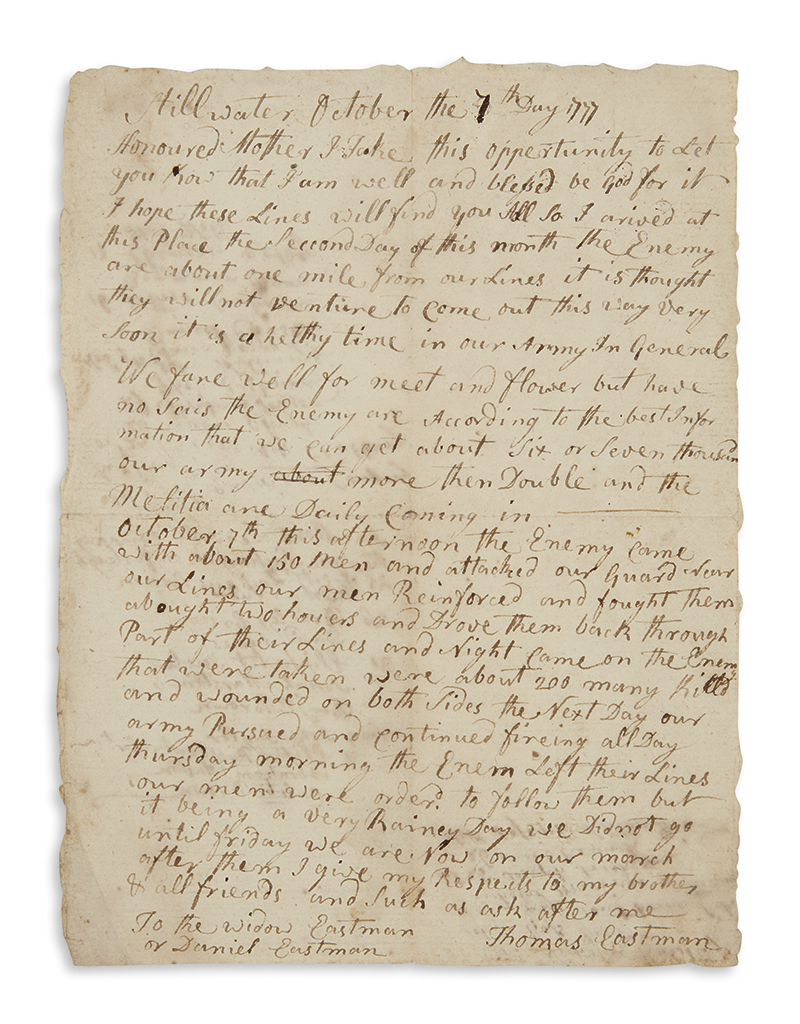 (AMERICAN REVOLUTION--1777.) Eastman, Thomas. Letter describing the victory at Bemis Heights and the pursuit of Burgoyne to Saratoga.