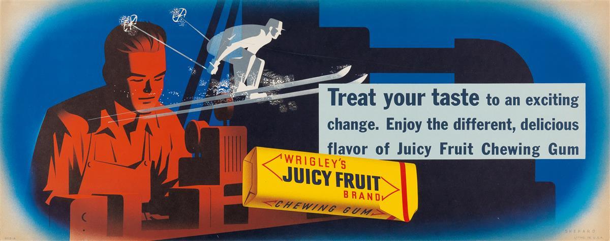 OTIS SHEPARD (1894-1969). WRIGLEYS JUICY FRUIT / TREAT YOUR TASTE. Trolley card. Circa 1951. 11x28 inches, 28x71 cm.