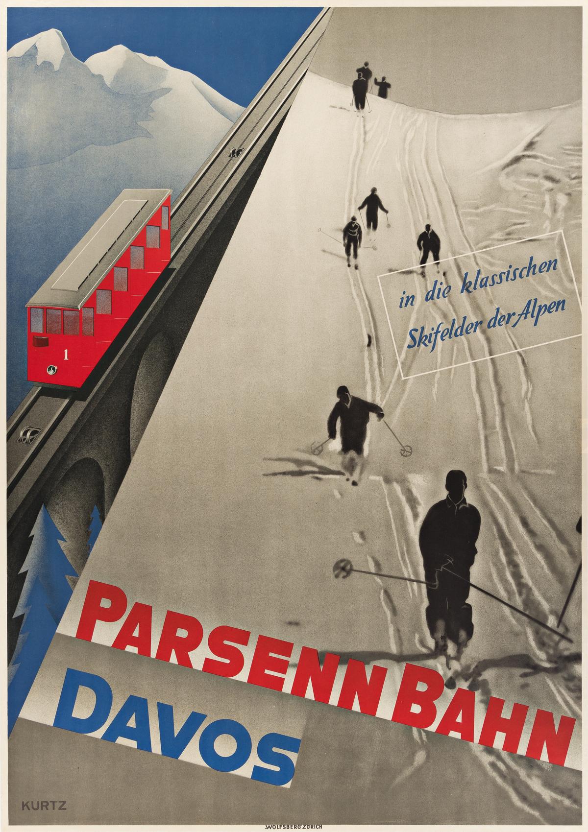 HELMUT KURTZ (1903-1959).  PARSENN BAHN DAVOS. Circa 1930. 50¼x35½ inches, 127½x90¼ cm. Wolfsberg, Zurich.