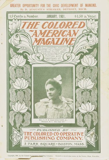 (LITERATURE AND POETRY.) HOPKINS, PAULINE, Editor and contributor. The Colored American Magazine.