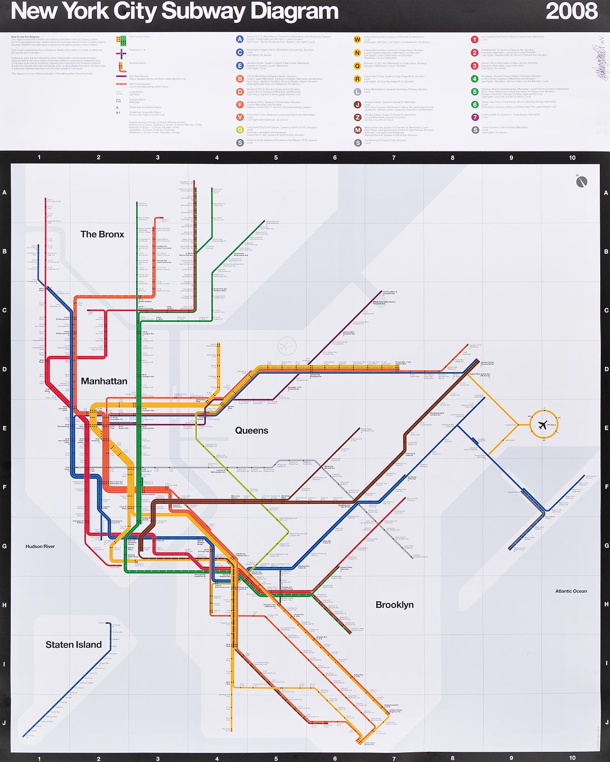 MASSIMO VIGNELLI (1931-2014). NEW YORK CITY SUBWAY DIAGRAM. 2008. 45x36 inches, 114x91 cm.