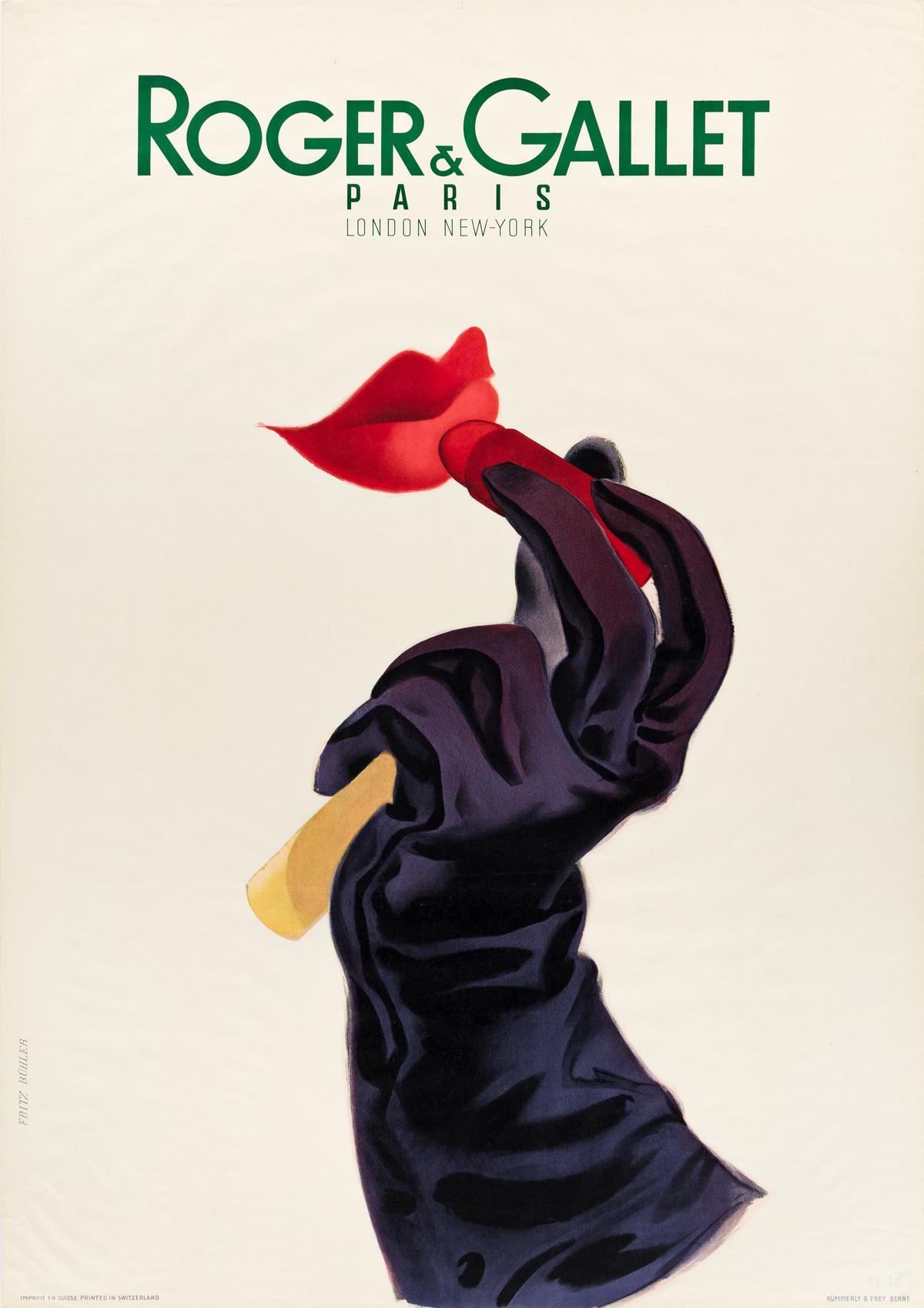 FRITZ BÜHLER (1909-1963).  ROGER & GALLET PARIS. 1947. 50¼x35½ inches, 127½x90 cm. Kümmerly & Frey, Berlin.