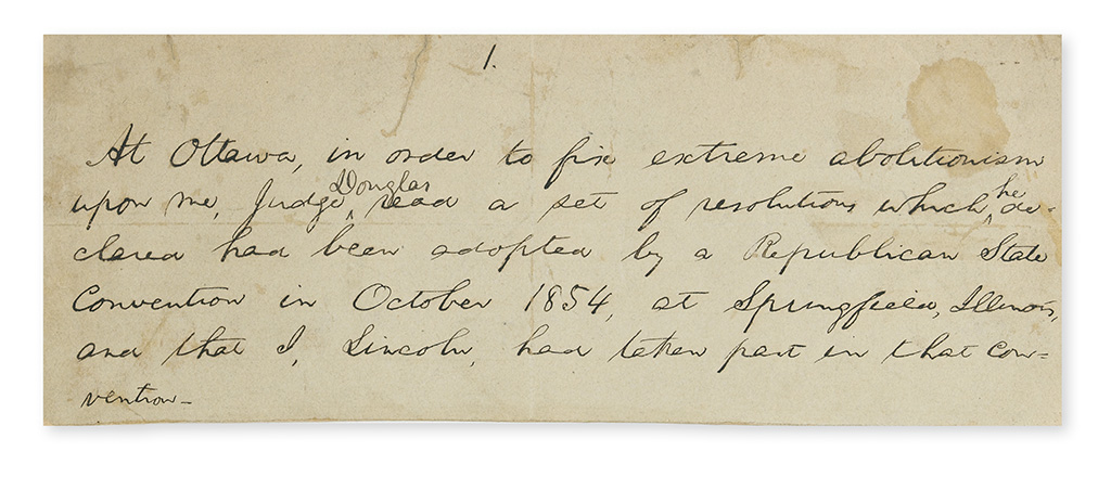 LINCOLN, ABRAHAM. Autograph Manuscript Signed, Lincoln, in the third person within the text, 5-lines of notes relating to his respons