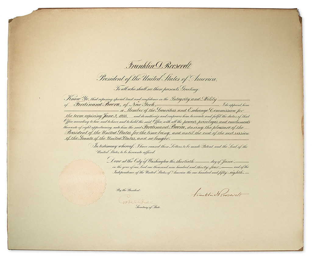 (BUSINESS.) ROOSEVELT, FRANKLIN D. Partly-printed Document Signed, as President,