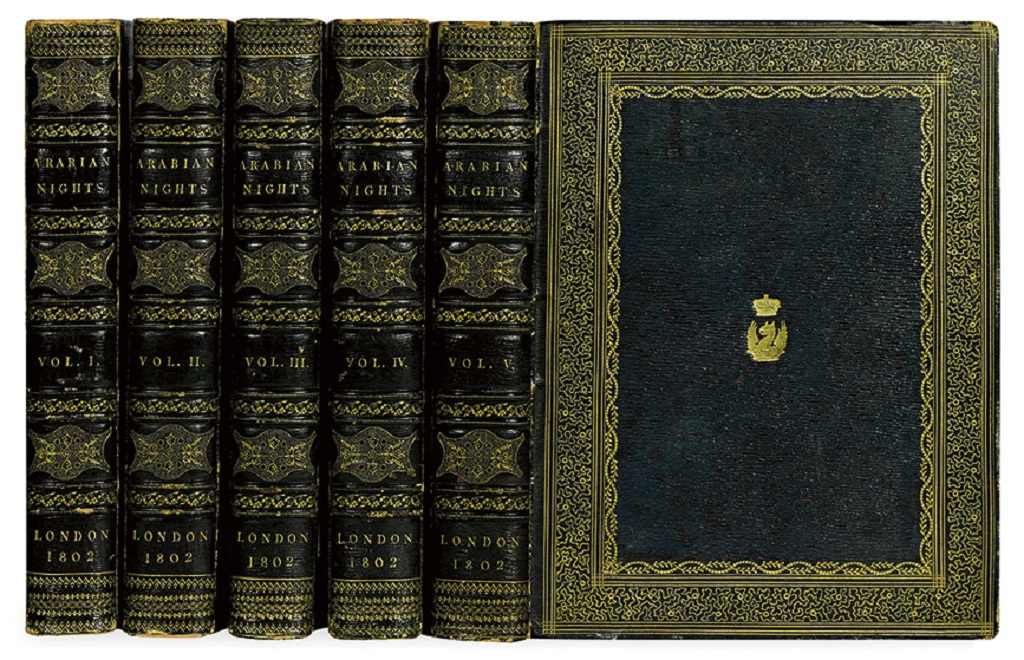 ARABIAN NIGHTS.  Forster, Edward, translator. The Arabian Nights.  5 vols.  1802.  Large-paper set with hand-colored plates.