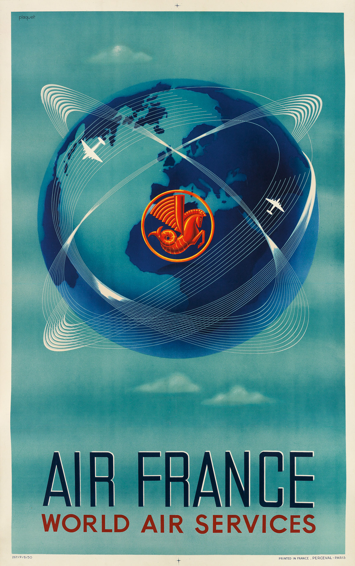 PLAQUET-(DATES-UNKNOWN)-AIR-FRANCE--WORLD-AIR-SERVICES-1950-