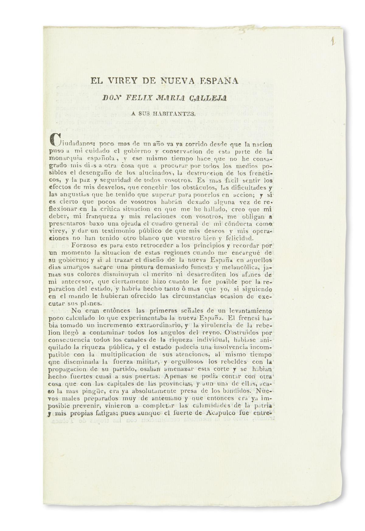 (TEXAS.) Calleja del Rey, Felix María. El virey de Nueva España . . . a sus habitantes.