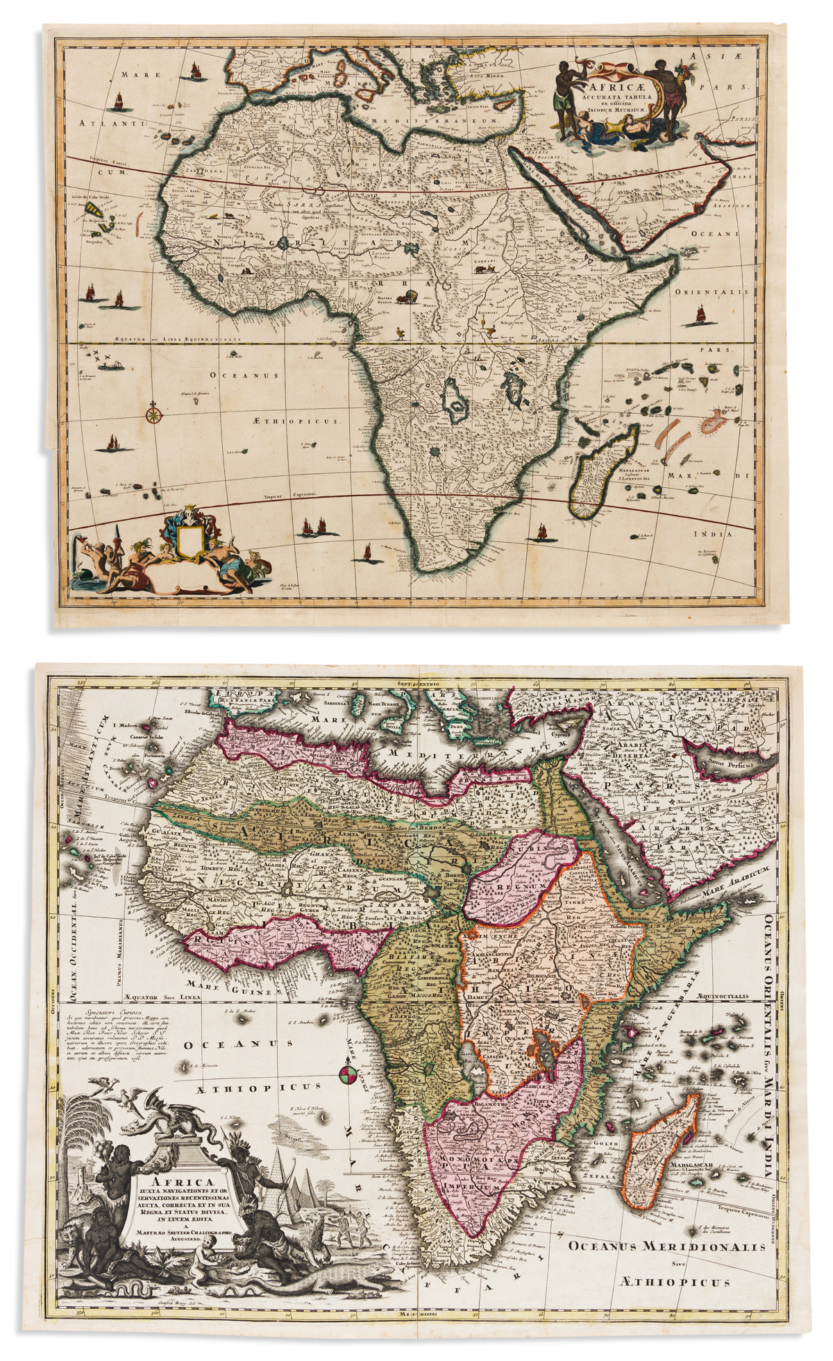 (AFRICA.) Two engraved maps of the continent.