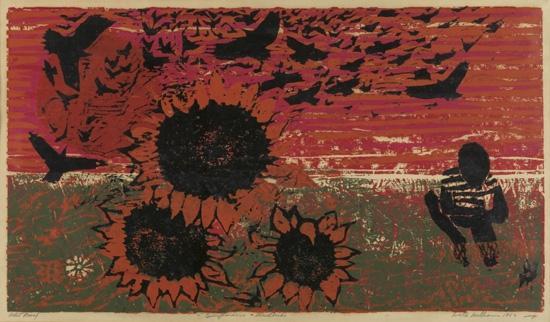 WALTER WILLIAMS (1920 - 1988) Sunflowers and Blackbirds.