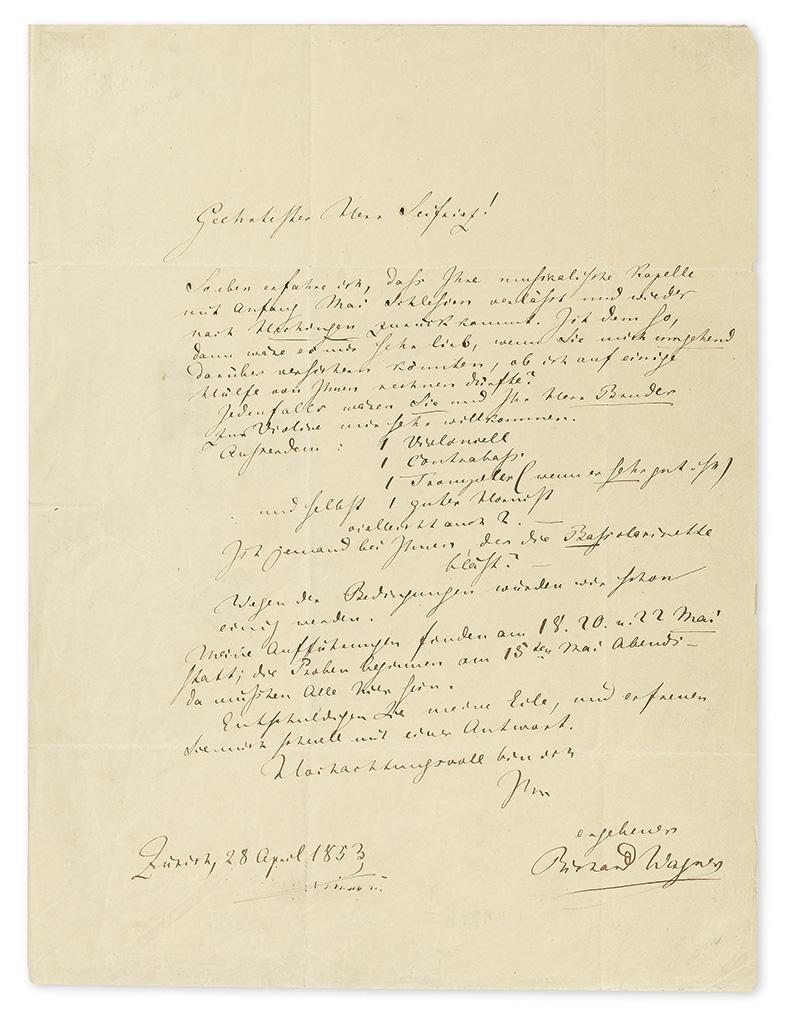 WAGNER, RICHARD. Autograph Letter Signed, to Hofkapellmeister Max Seifriz (Esteemed Mr. Seifriz), in German,