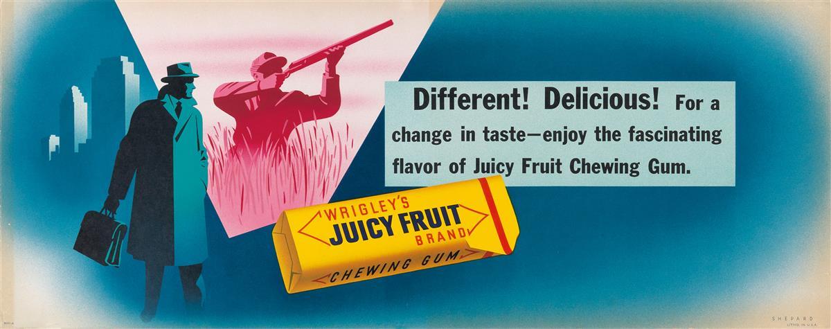 OTIS-SHEPARD-(1894-1969)-WRIGLEYS-JUICY-FRUIT--DIFFERENT-DEL