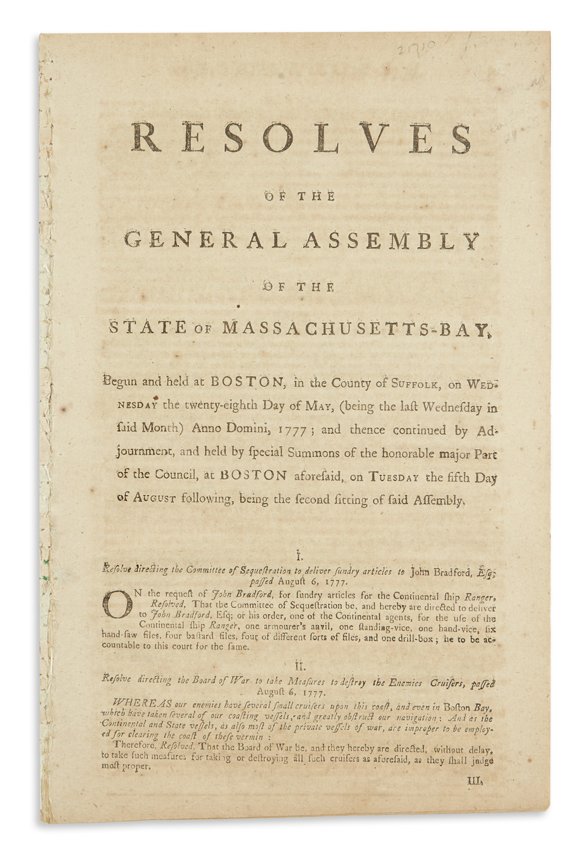 (AMERICAN-REVOLUTION--1777)-Resolves-of-the-General-Assembly