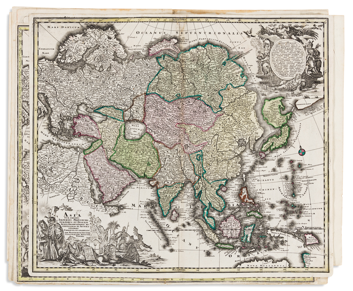 (ASIA.) Group of 5 double-page engraved maps of the continent.