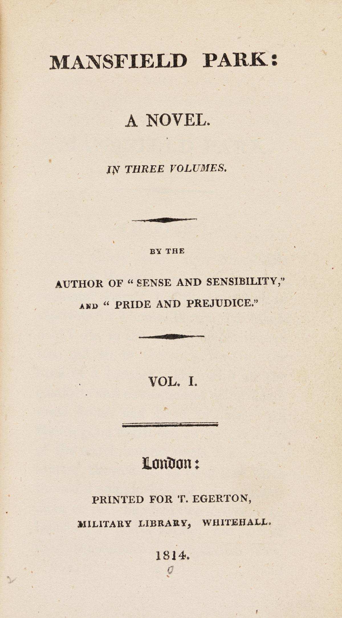 AUSTEN, JANE. Mansfield Park: A Novel. In Three Volumes.