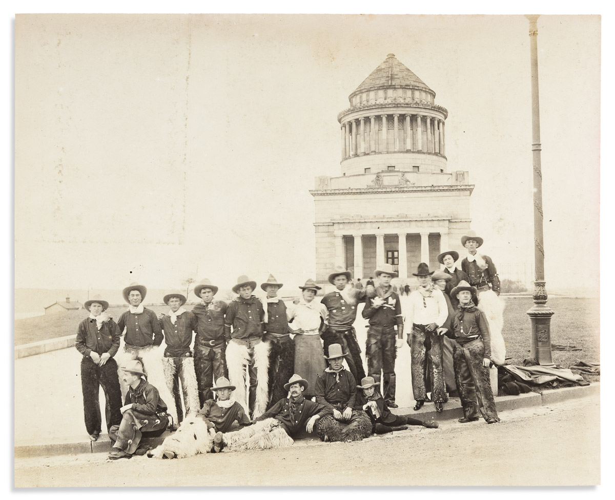(WEST.) Spooner & Wells, photographers. Members of Buffalo Bill's Wild West Show posing in front of Grants Tomb.