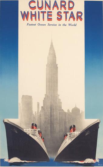 A. ROQUIN (DATES UNKNOWN). CUNARD / WHITE STAR [QUEEN MARY & QUEEN ELIZABETH.] Circa 1938. 38x23 inches, 98x60 cm. Publimp-Nadal, Paris