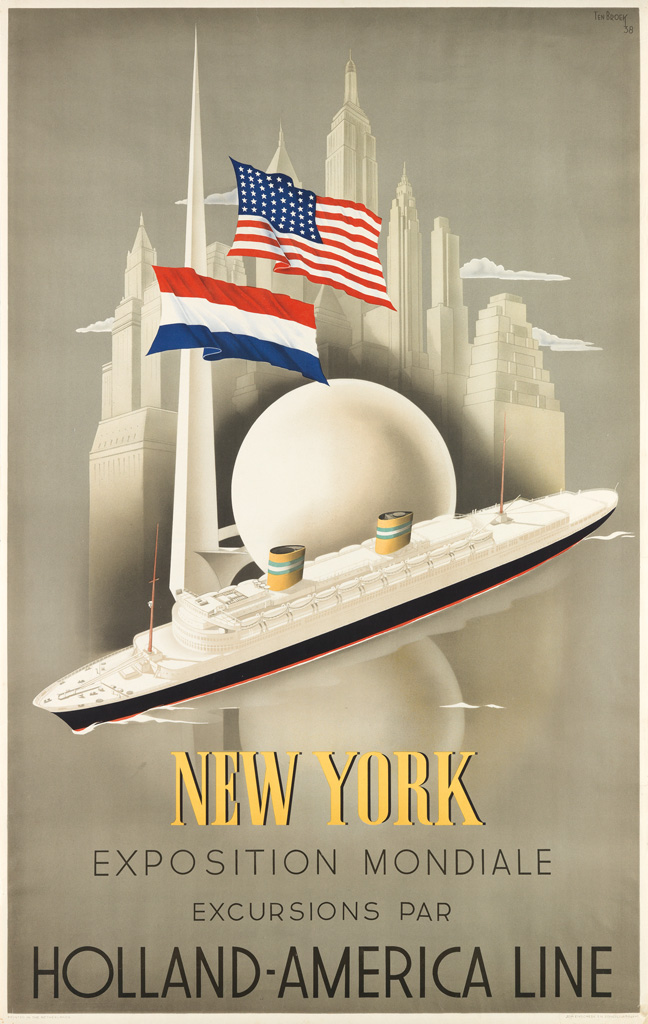 WILLEM FREDERICK TEN BROEK (1905-1993). NEW YORK EXPOSITION MONDIALE / HOLLAND - AMERICA LINE. 1938. 37x24 inches, 96x61 cm. Joh Ensche