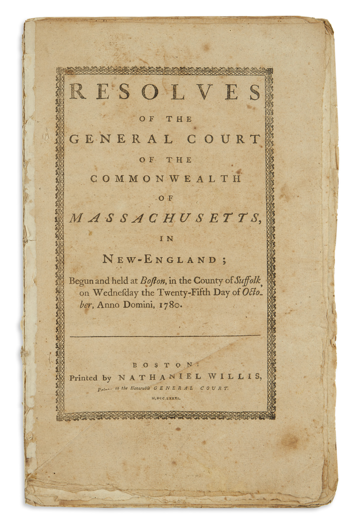 (AMERICAN-REVOLUTION--1780)-Resolves-of-the-General-Court-of