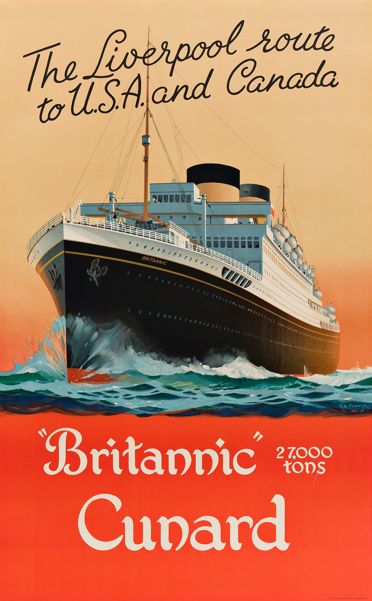 CHARLES-E-TURNER-(1883-1965)-BRITANNIC-CUNARD--THE-LIVERPOOL-ROUTE-TO-USA-AND-CANADA-Circa-1950-38x24-inches-98x61-cm