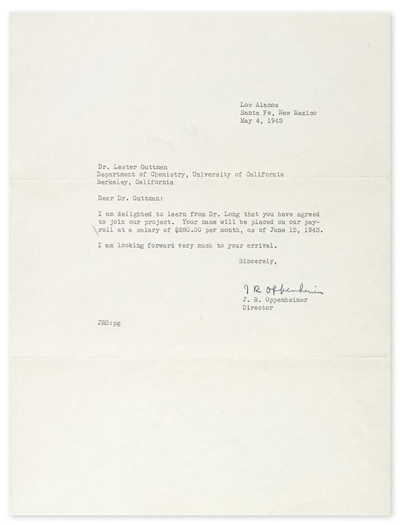 OPPENHEIMER, JULIUS ROBERT. Typed Letter Signed, J R Oppenheimer, as Director of the Los Alamos Laboratory, to chemist Lester Guttman