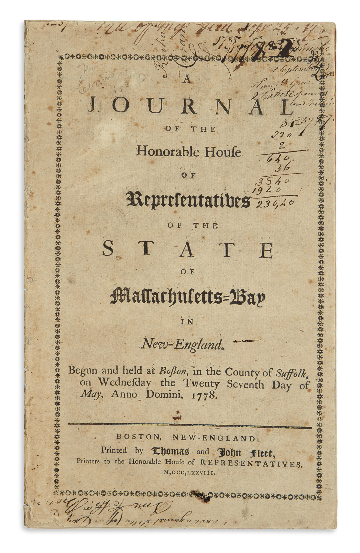 (AMERICAN-REVOLUTION--1778)-A-Journal-of-the-Honorable-House