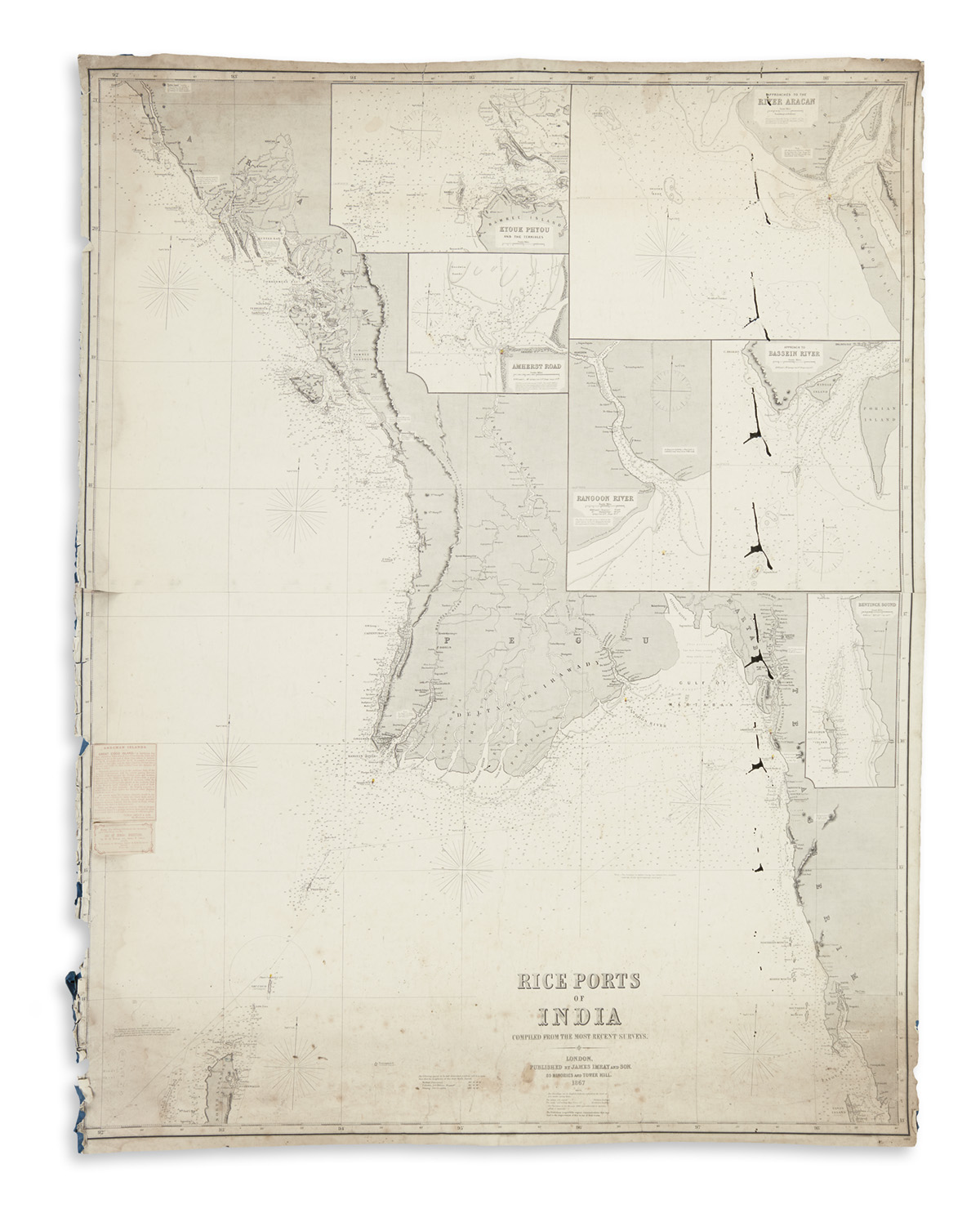 (BLUEBACK CHARTS.) Group of five large engraved charts.