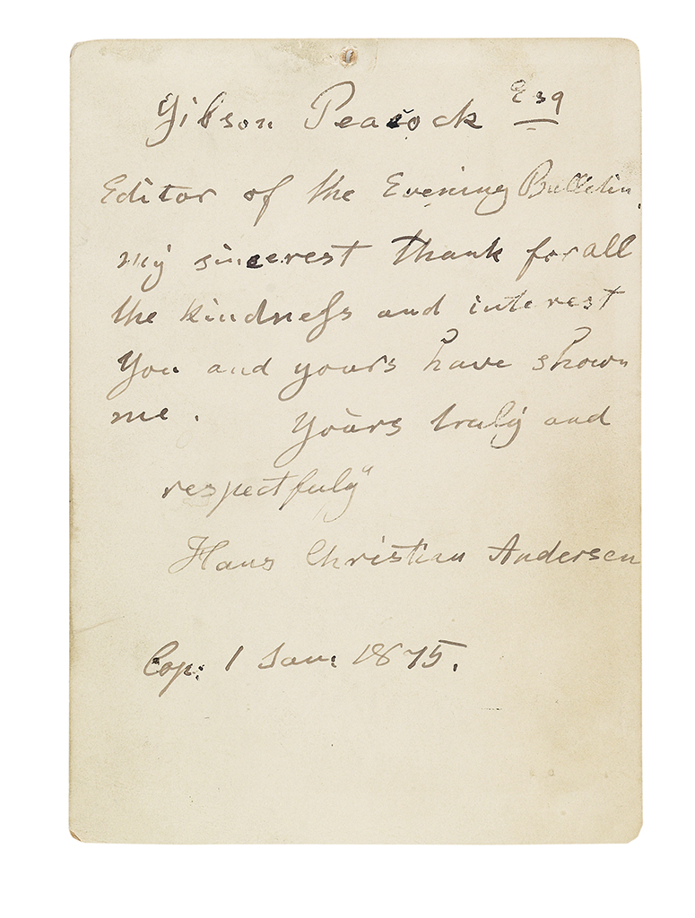 ANDERSEN, HANS CHRISTIAN. Brief Autograph Letter Signed, to the PA Evening Bulletin editor Gibson Peacock, in English,