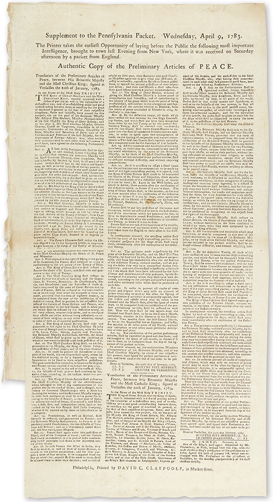 (AMERICAN REVOLUTION--1783.) Supplement to the Pennsylvania Packet . . . Authentic Copy of the Preliminary Articles of Peace.