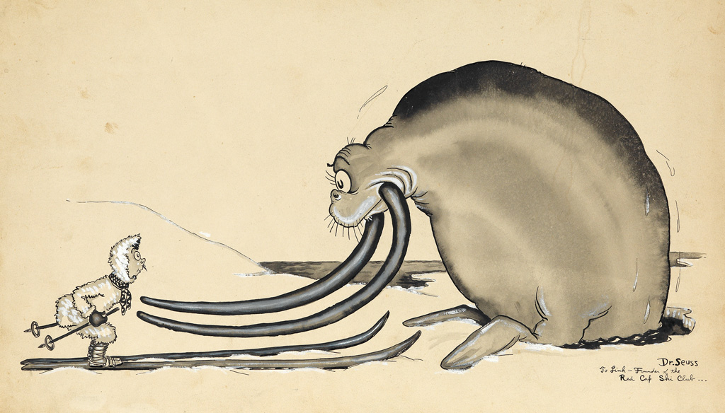 DR. SEUSS. [THEODOR GEISEL.] Adaptaion just as a gesture; showing what happens when a walrus gets jealous of skis.