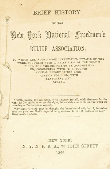 (SLAVERY AND ABOLITION.) [BRYANT, WILLIAM CULLEN ET AL.] Brief History of the New York National Freedmen''s Relief Association (drop