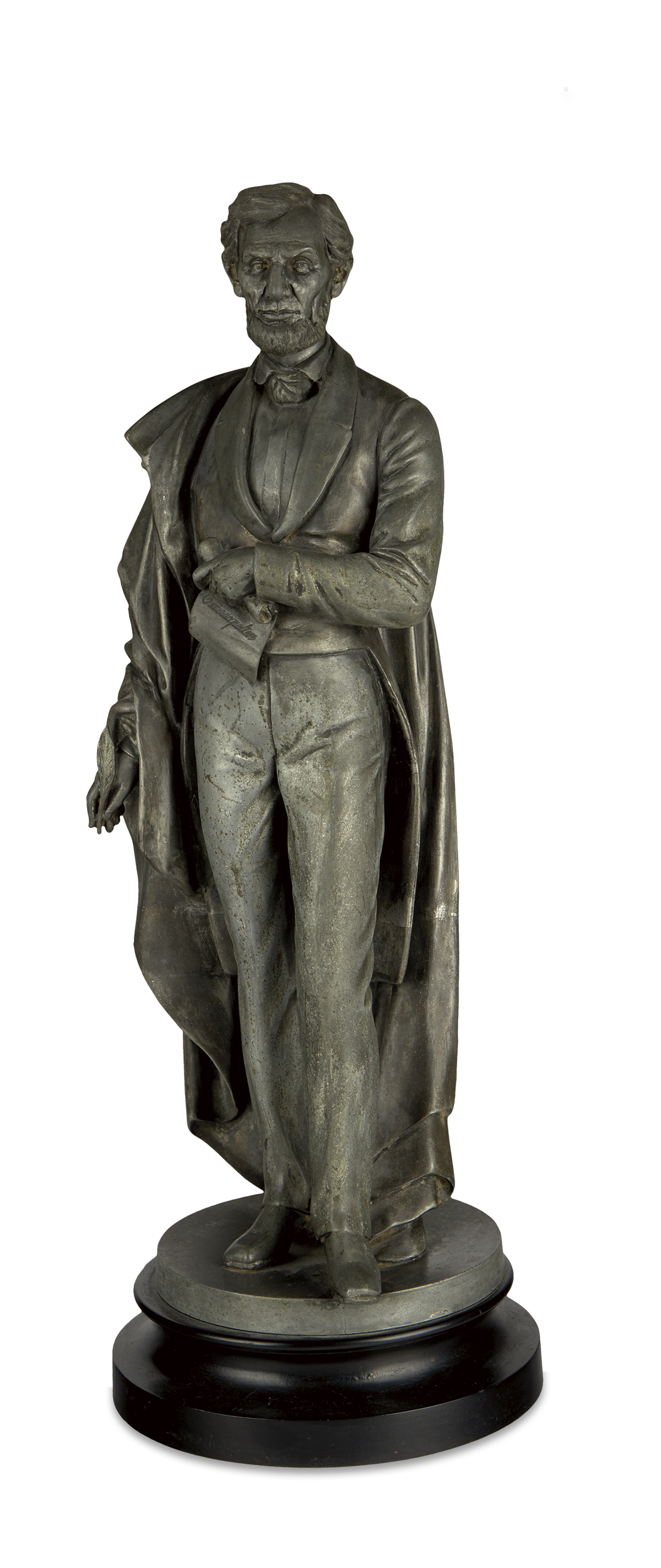 (SCULPTURE)-Metal-alloy-statuette-of-Lincoln-the-Emancipator