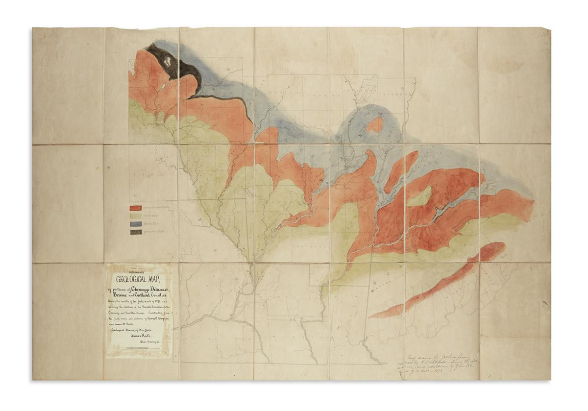 (NEW YORK.) Simpson, George B.; and Hall, James W. Preliminary Geological Map of Portions of Chenango, Delaware,