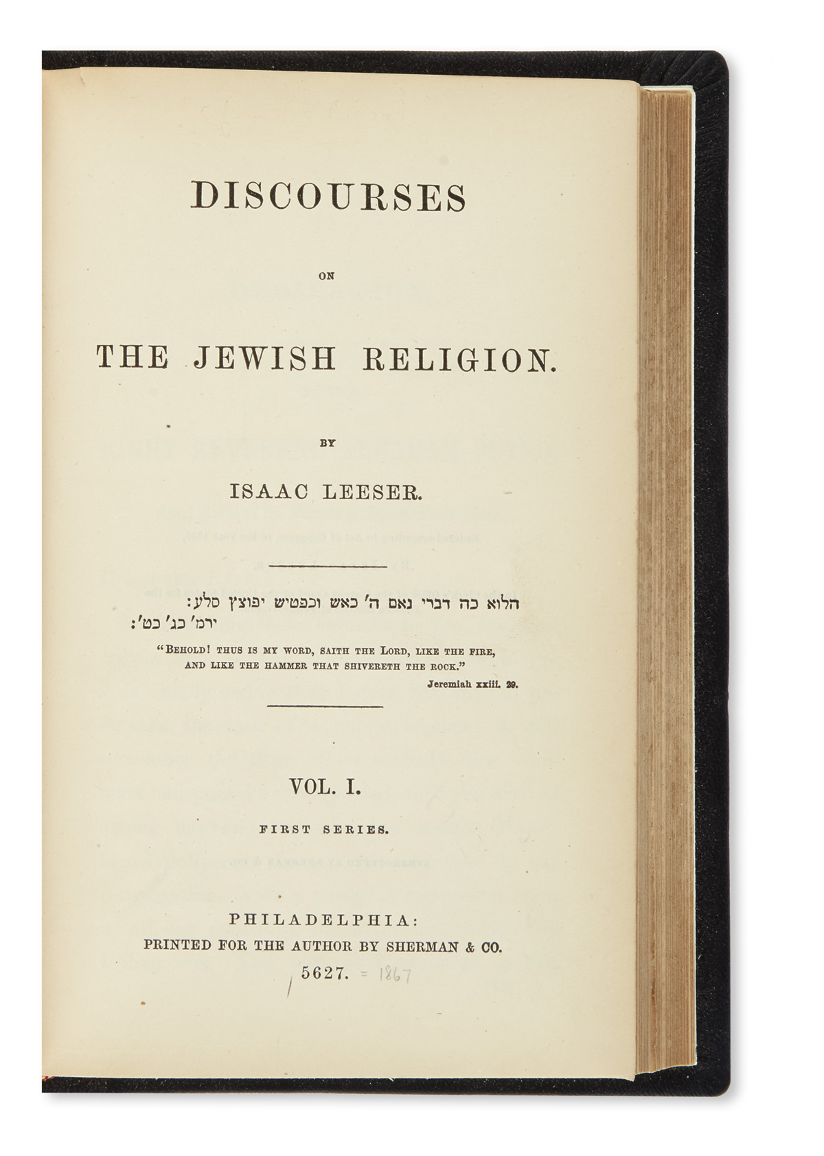 (JUDAICA.) Leeser, Isaac. Discourses on the Jewish Religion.