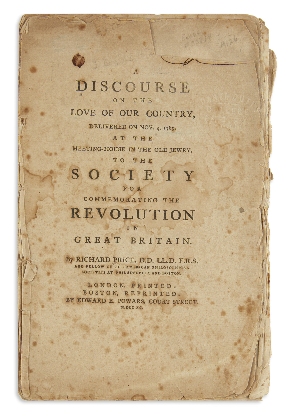(AMERICAN-REVOLUTION--HISTORY)-Price-Richard-A-Discourse-on-the-Love-of-Our-Country---