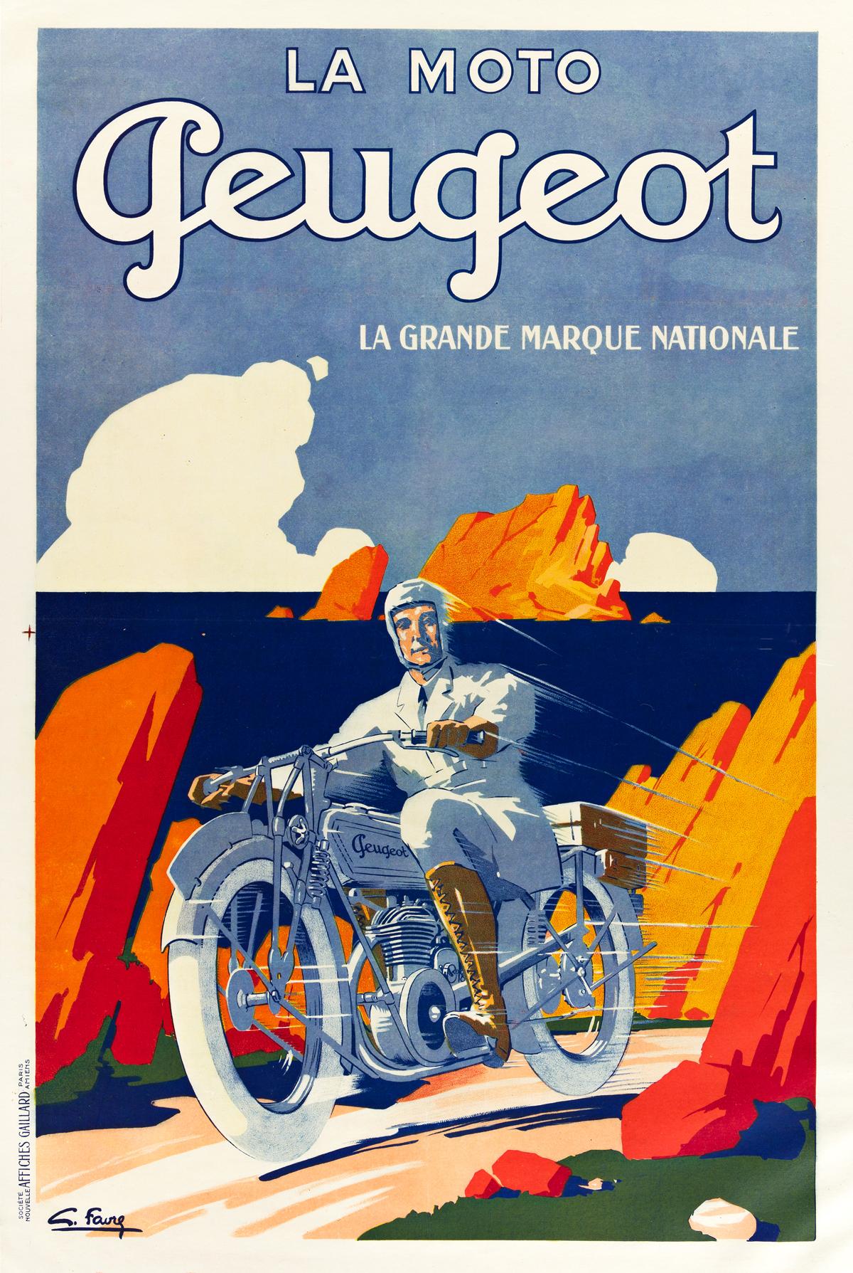GEORGES FAVRE (DATES UNKNOWN).  LA MOTO PEUGEOT. Circa 1930. 46x31 inches, 116x78 cm. Affiches Gaillard, Paris.