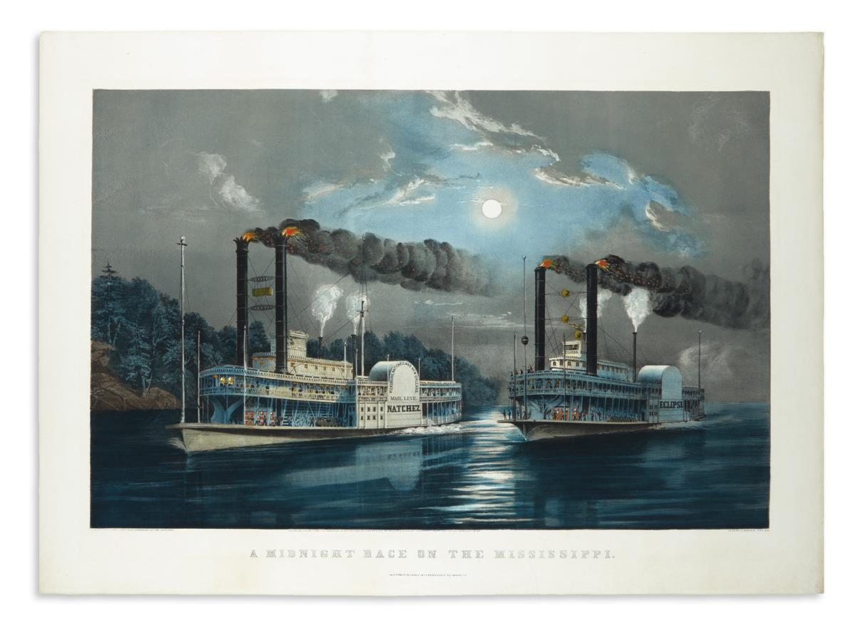 CURRIER & IVES. A Midnight Race on the Mississippi.