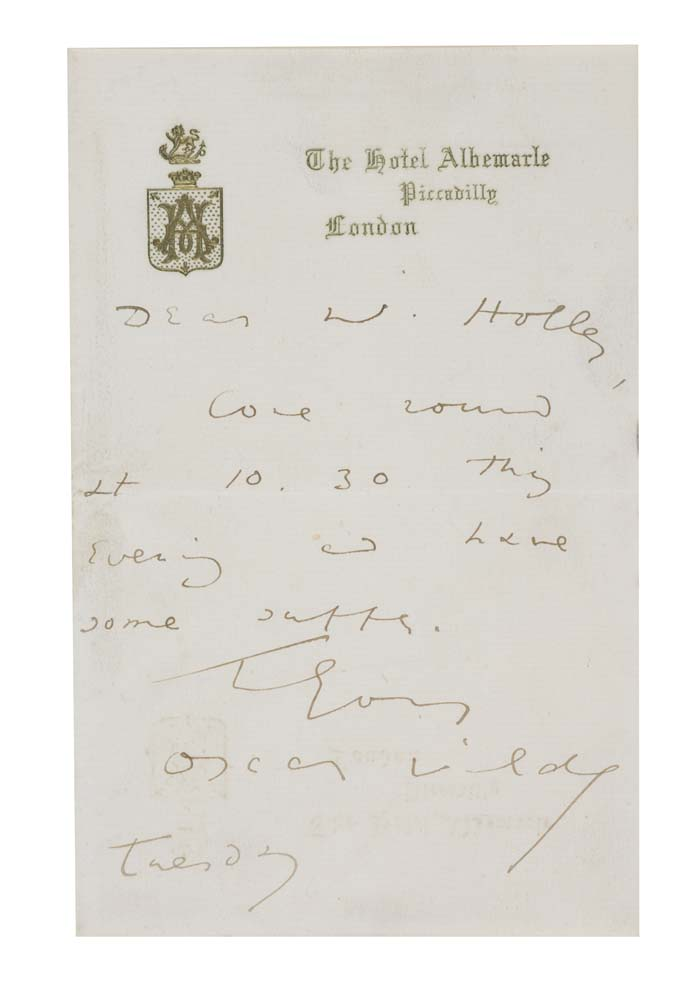 WILDE, OSCAR. Autograph Letter Signed,