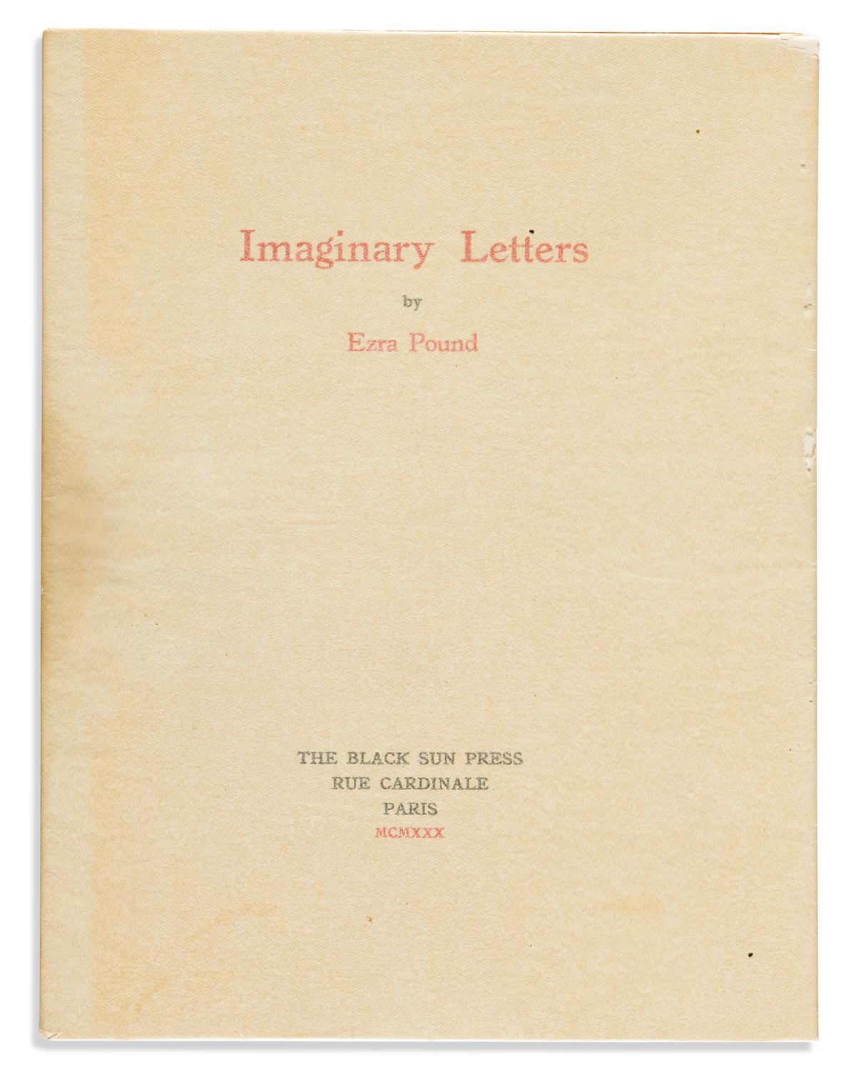 POUND, EZRA. Imaginary Letters.