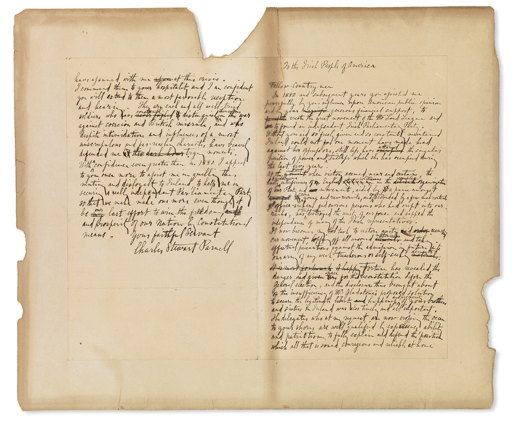 PARNELL, CHARLES STEWART. Autograph Manuscript Signed, draft of his To the Irish People of America, with numerous emendations through